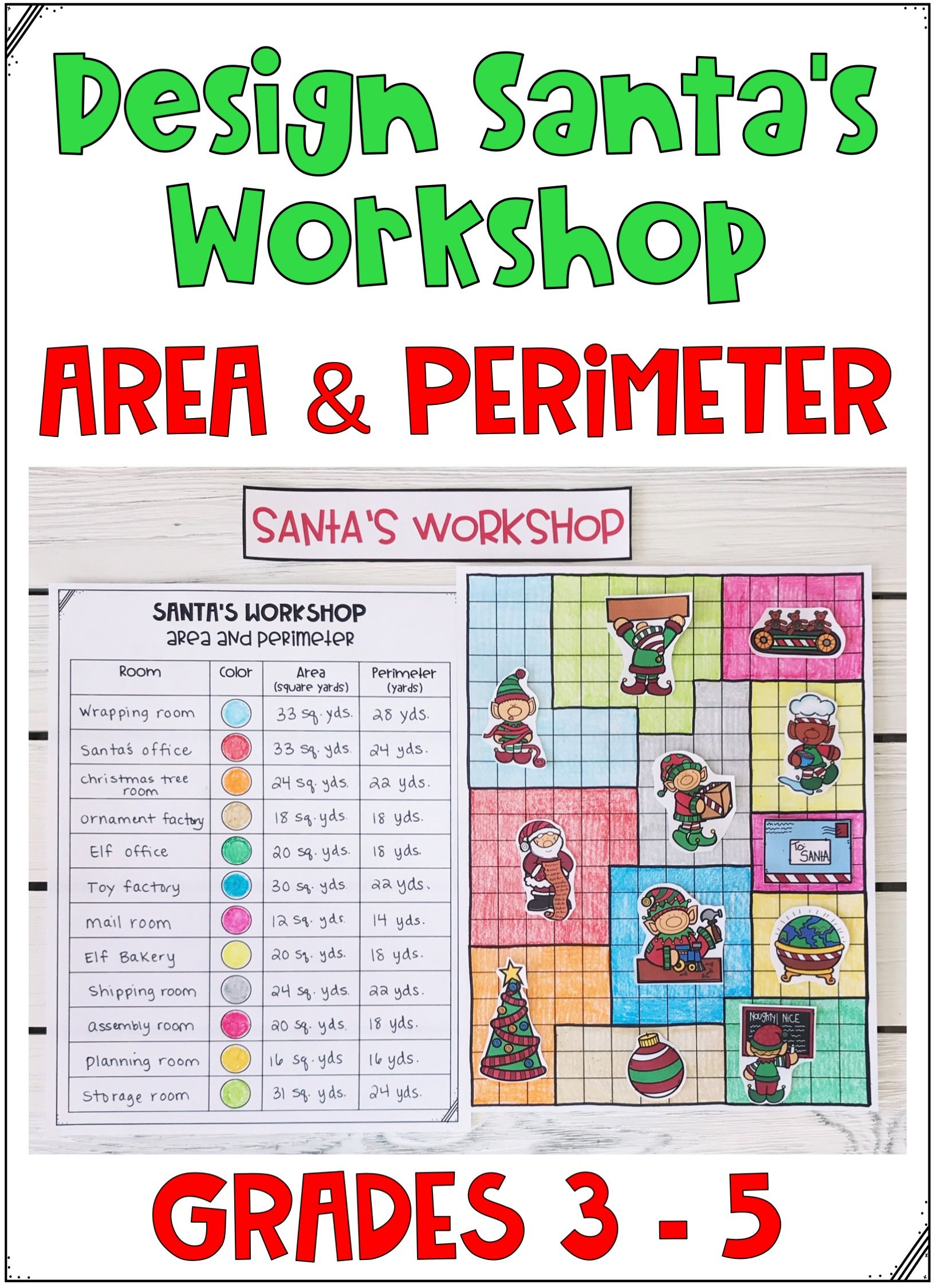 Design Santa S Workshop Perimeter And Area Math Activity