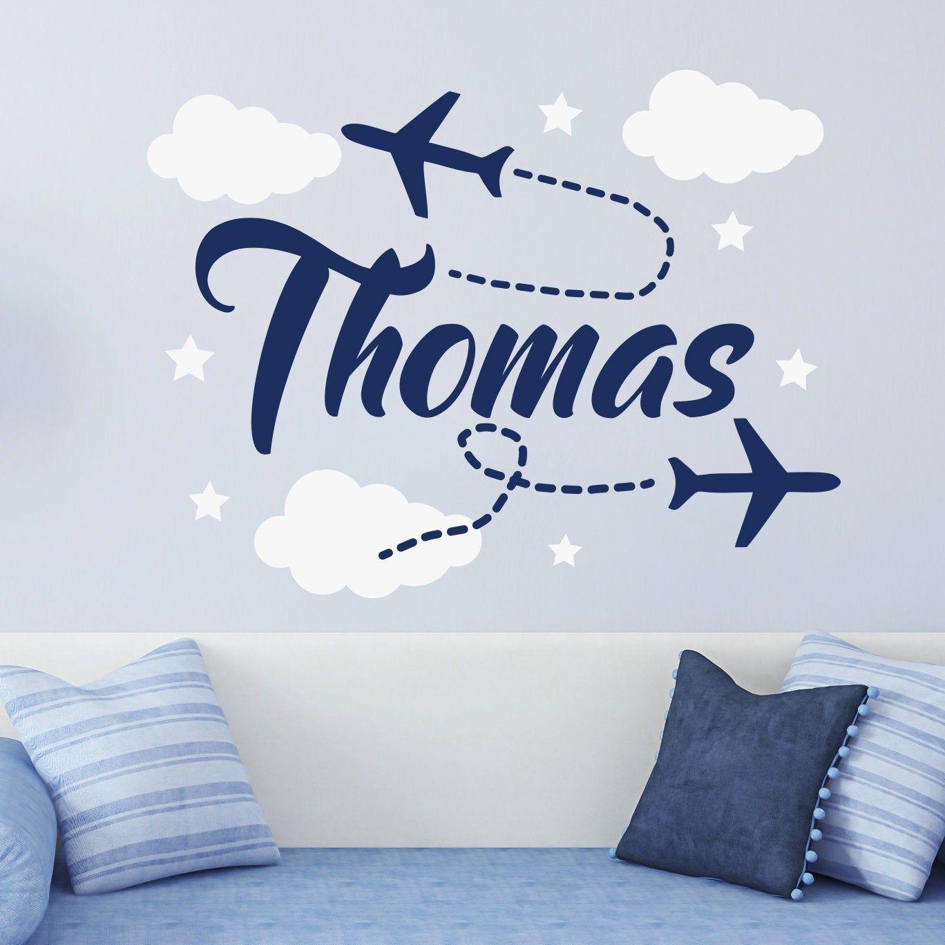 Boy Name Wall Decals Nursery Airplane Sticker Kids