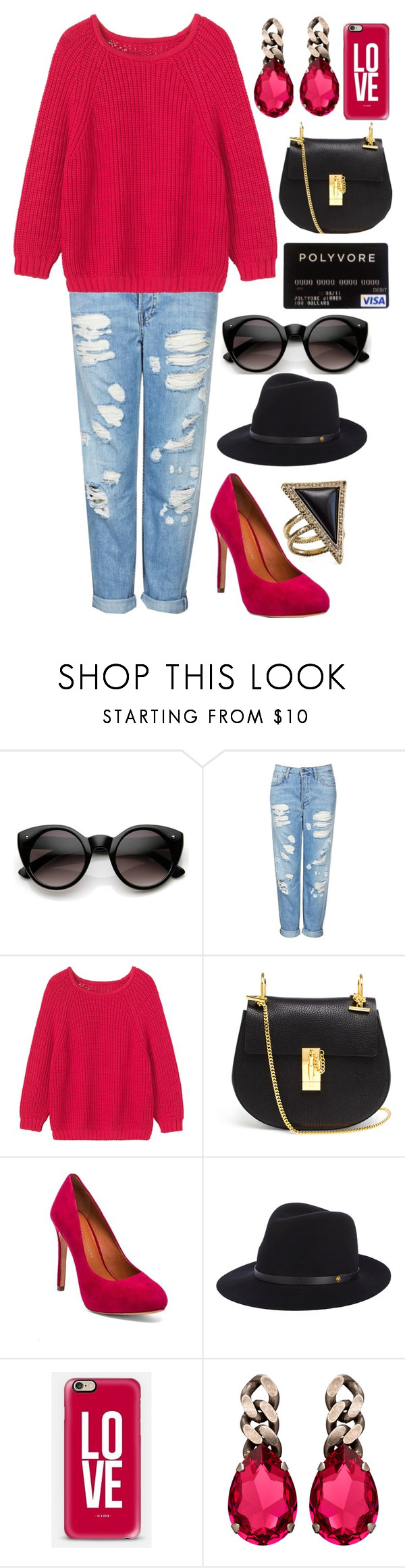 """Bright Casual Outfit"" by loveselena22 ❤ liked on Polyvore featuring ZeroUV, Topshop, Toast, Chloé, Rebecca Minkoff, rag & bone, Janis Savitt and House of Harlow 1960"