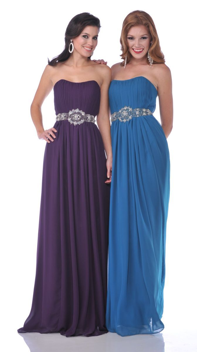 Flowy teal blue prom dress rhinestone waist long strapless chiffon
