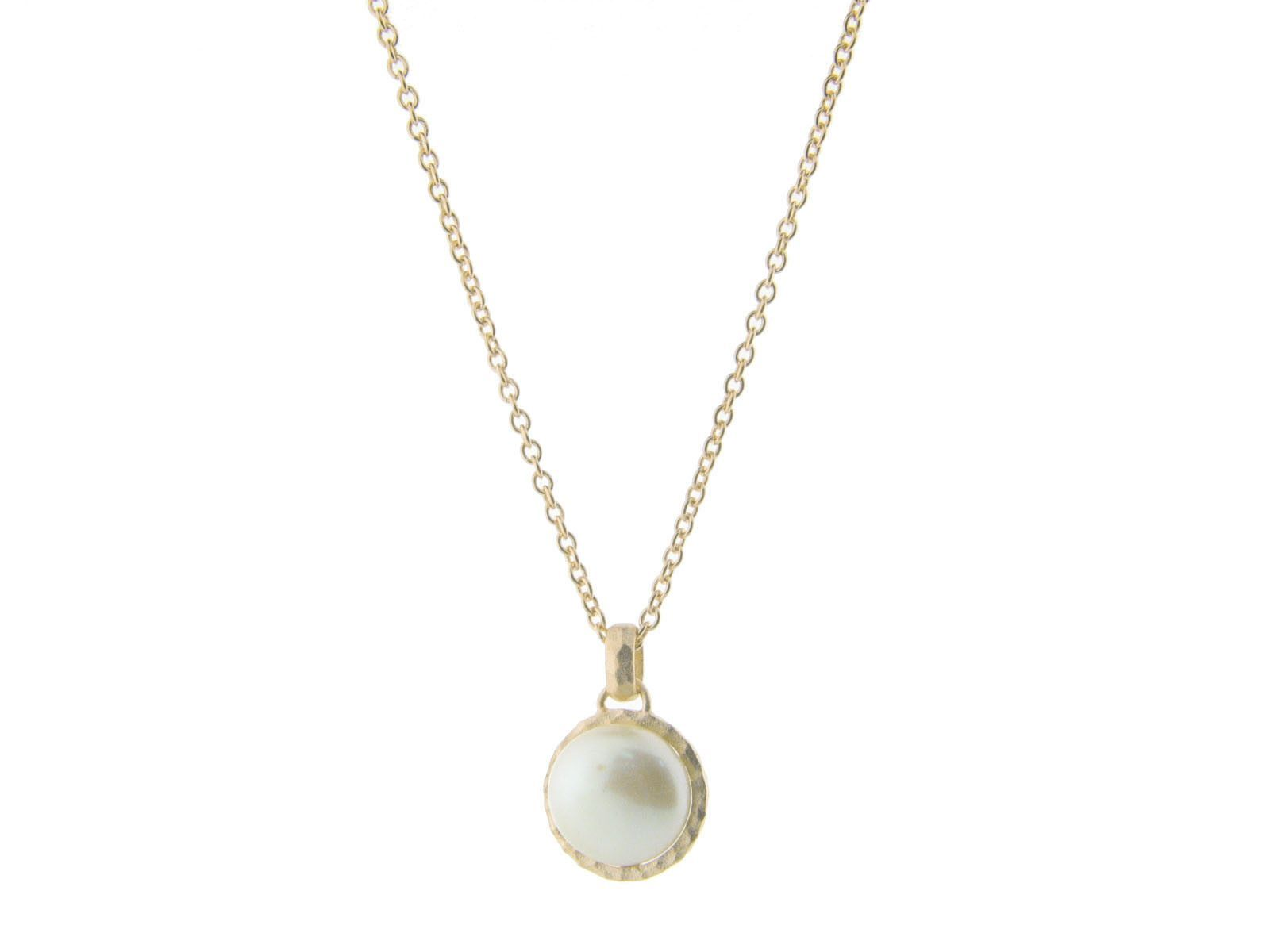 Fronay co hammered gold tone freshwater coin pearl pendant necklace