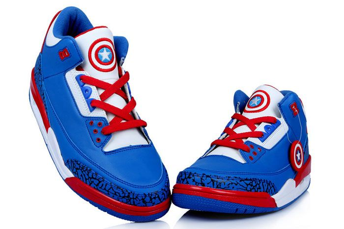 big sale 81cad f56d4 Captain America Air Jordan 3 Superheroes Inspired DC Comic Blue White Shoes