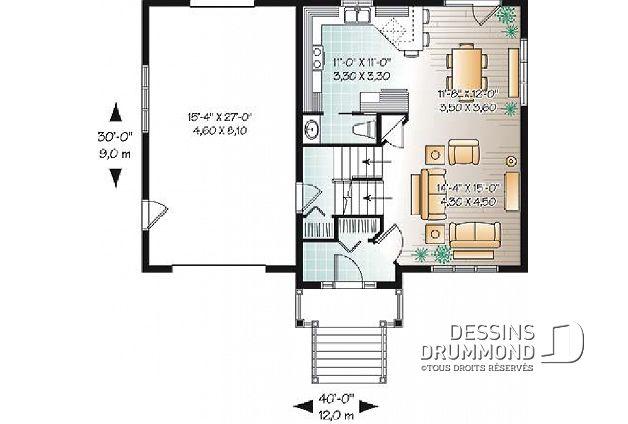 Rez-de-chaussée - Plan de maison à paliers d\u0027inspiration scandinave