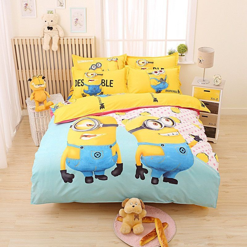 Kids S Cartoon Hello Kitty Minions Mermaid Bedding Set 3 4pcs Duvet Cover Bedsheet Pillowcase