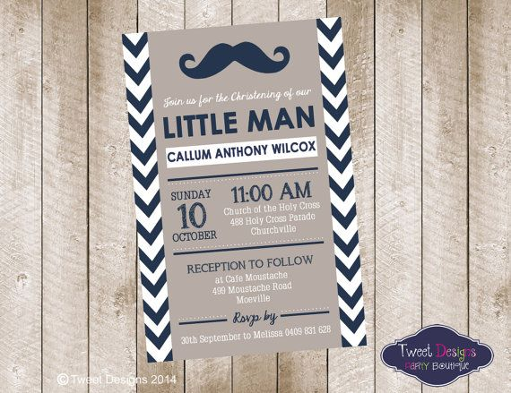 Little Man Christening Invitation Little Man By Tweetpartyboutique