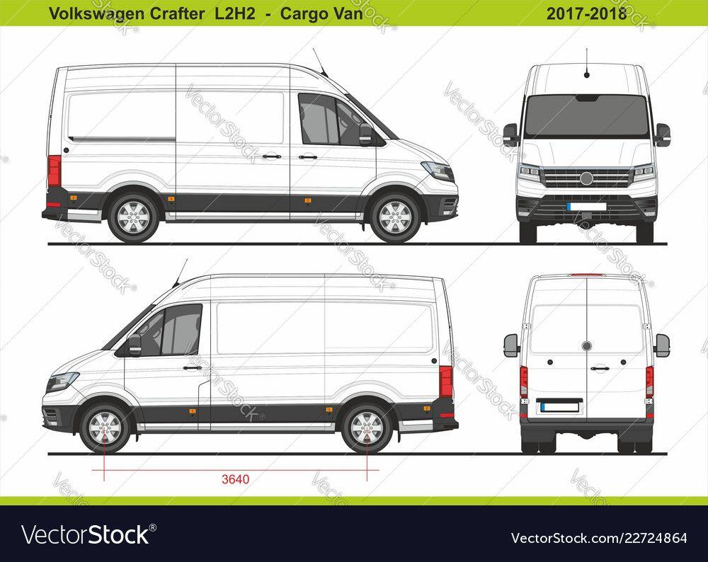 Volkswagen Crafter Cargo Van L2h2 2017 2018 Vector Image On Volkswagen Vw Crafter Transit Custom