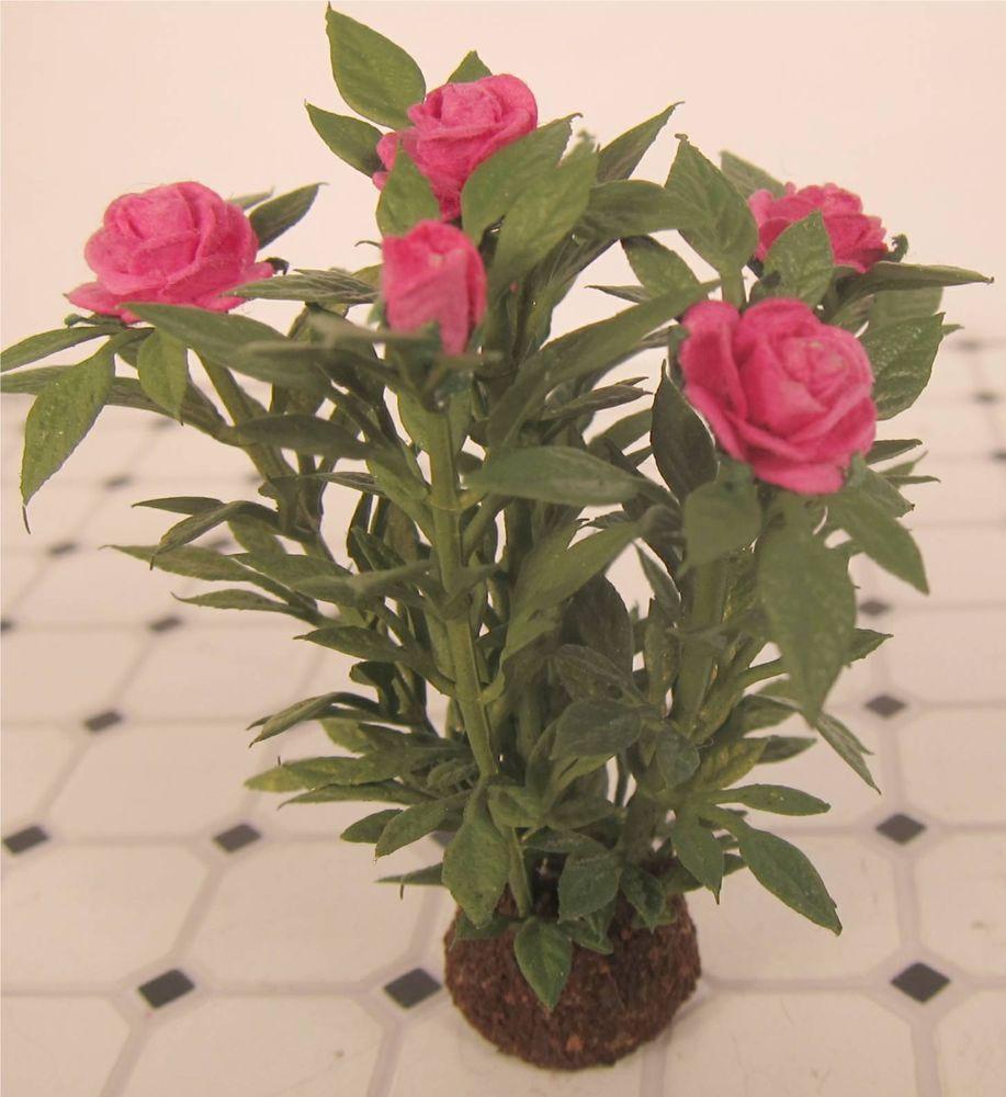 Dollhouse Miniature Flower Miniature Garden Pink Rose Bush ...