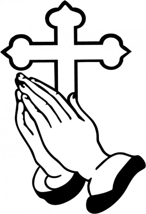 Praying Hands With Cross Praying Hands Praying Hands Clipart Cross Drawing