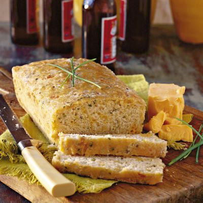 Cheddar-Chive Beer Bread | With minimal prep, you can enjoy this homemade beer bread loaf | SouthernLiving.com