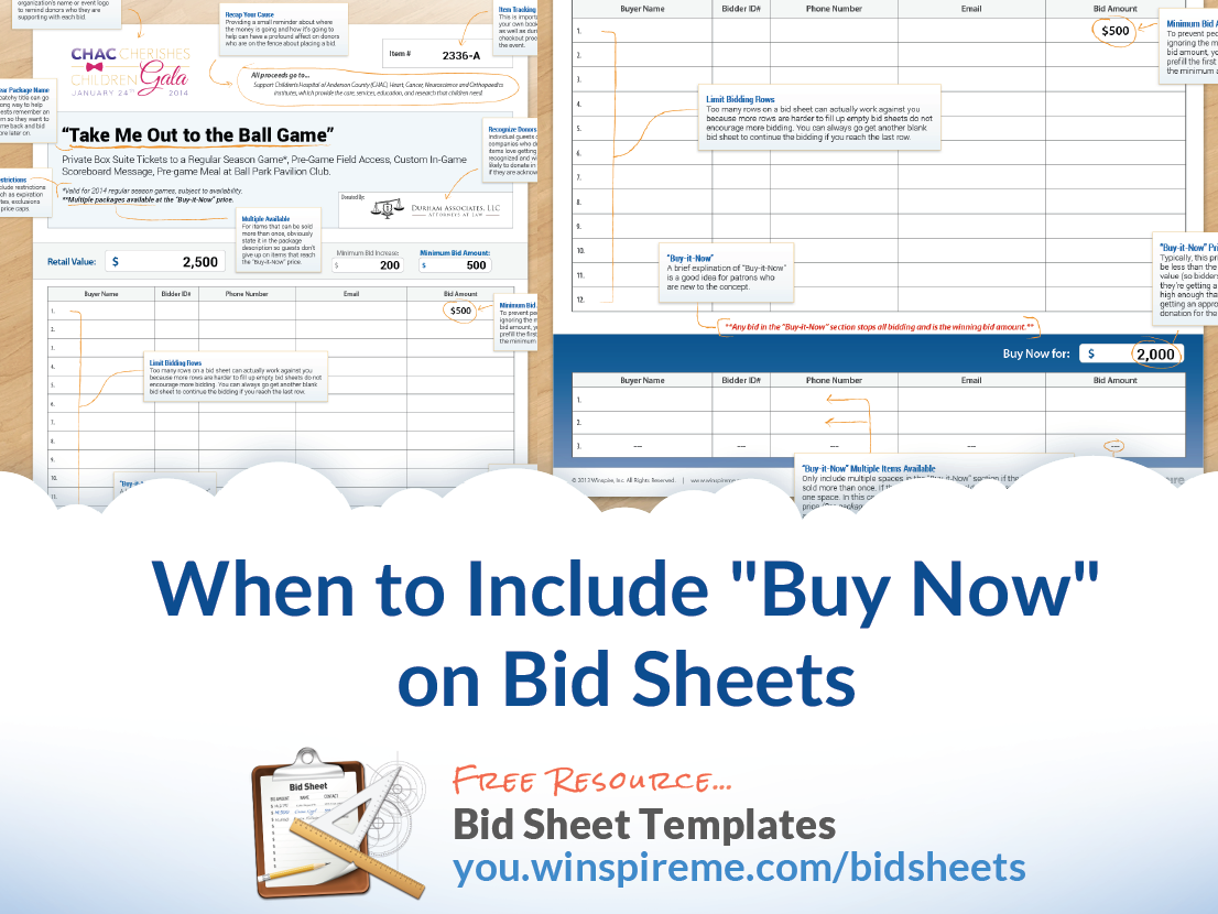 When To Include Buy Now Prices On Auction Bid Sheets  Silent