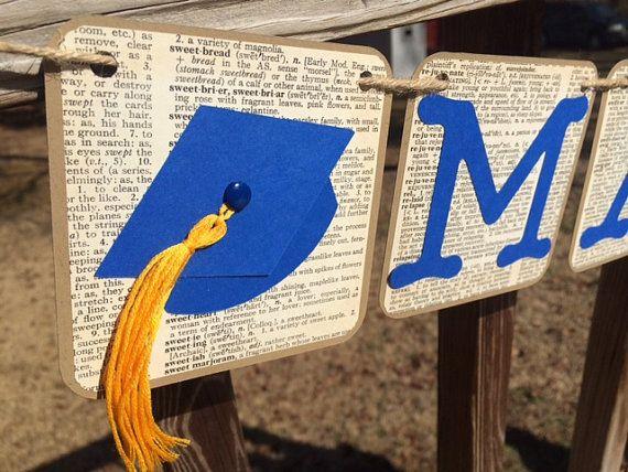 Graduation banner personalized grad party bunting rustic for Decoracion grado universidad
