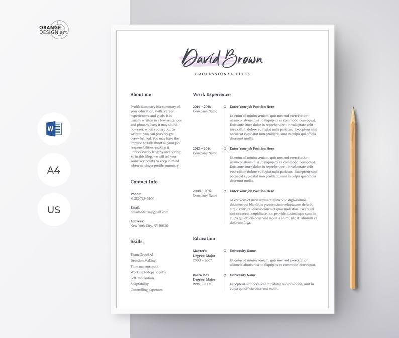 Modern Cv Template For Word Creative Resume Template Etsy Creative Resume Templates Resume Template Etsy Microsoft Word Resume Template
