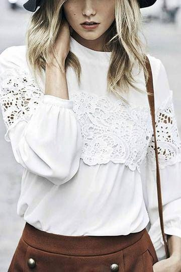 White Lace Hollow Out Shirt.