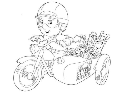 Handy Manny Using Motorcycle With Friends Coloring For