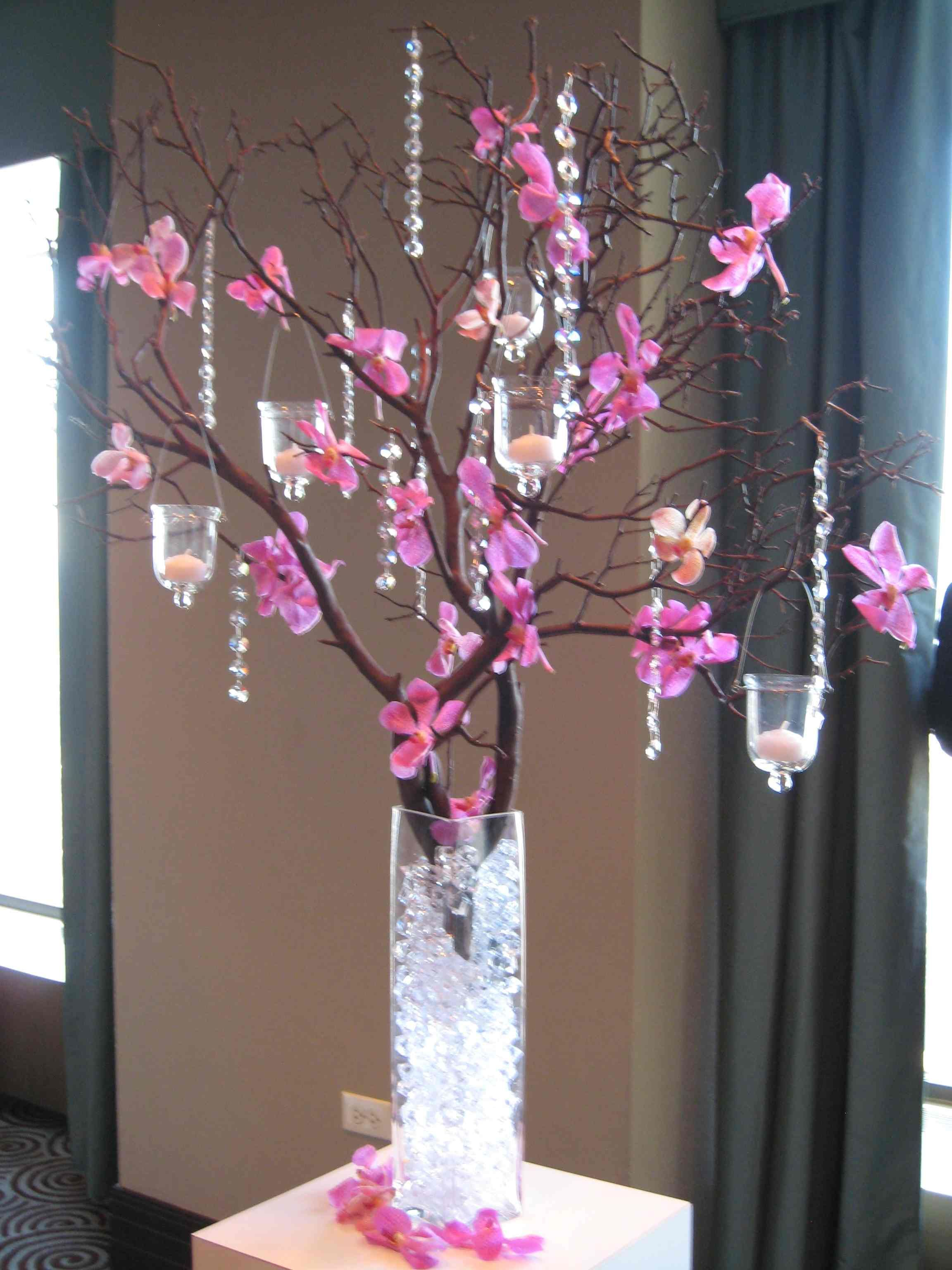 Manzanita branches with crystals and