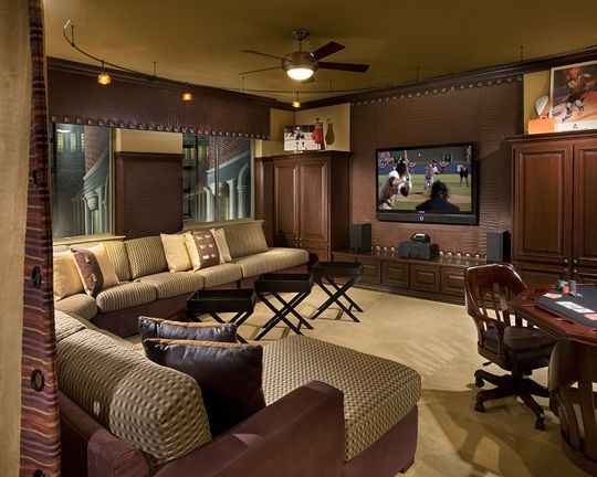 Man Cave Hours : This remodeled entertainment room is a man cave for spending hours