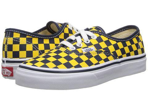f1fdd00b46 Vans Kids Authentic (Little Kid Big Kid) (Golden Coast) Dress Blues Yellow  Checker - Zappos.com