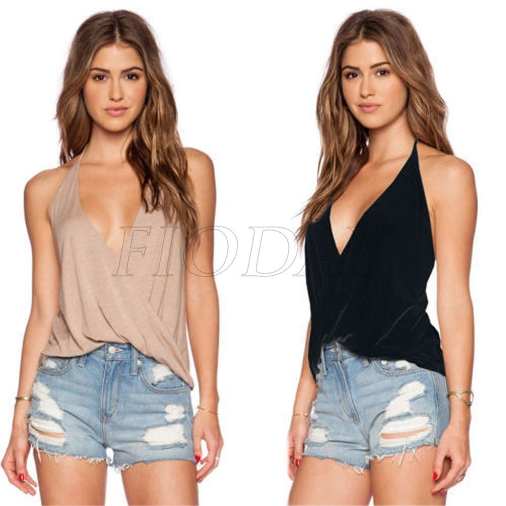 Womens Backless Sleeveless T-Shirt Vest Ladys Summer Loose Tank Tops Blouse