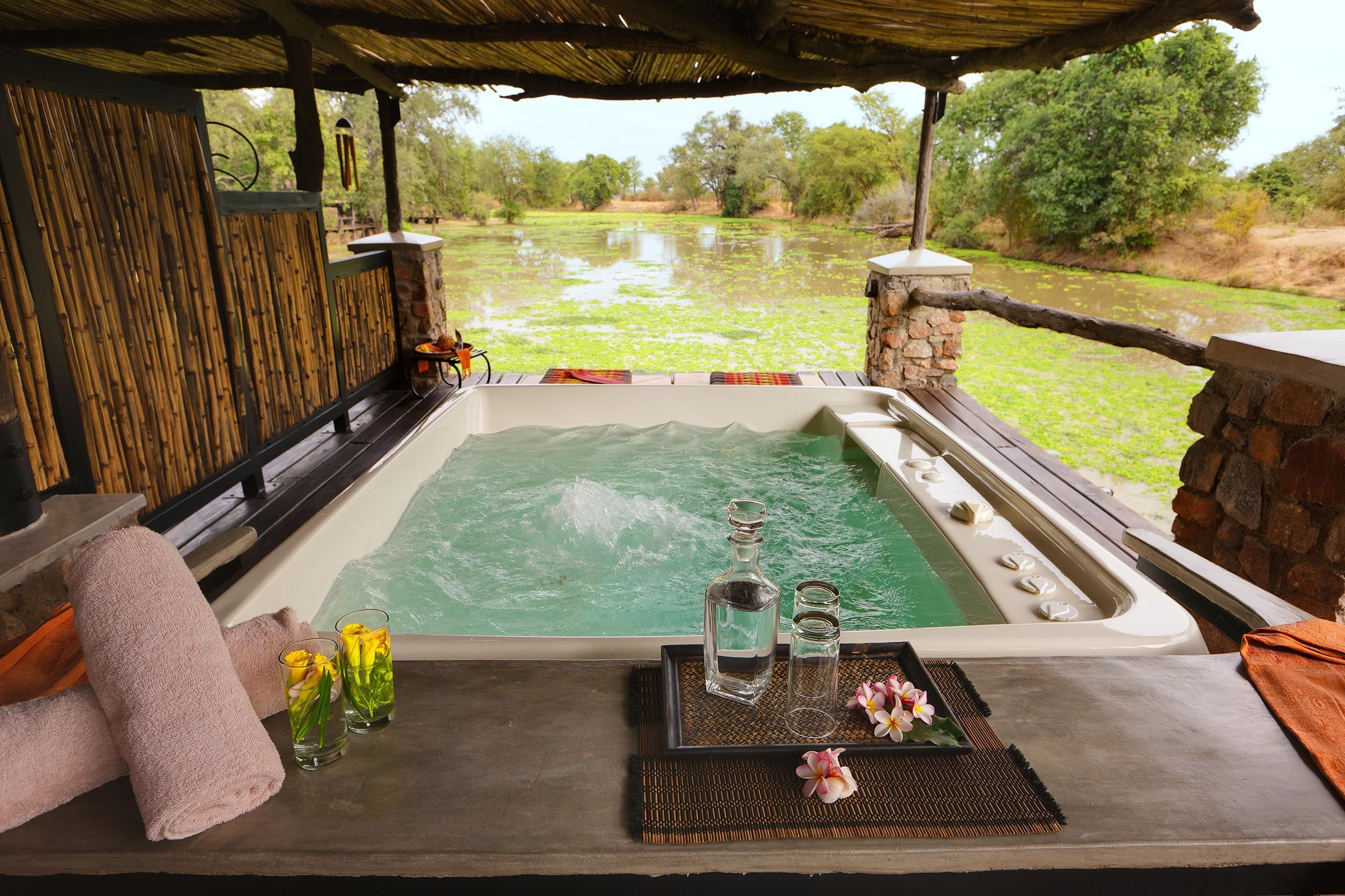 fancy total relaxation while looking at a lagoon full of hippos