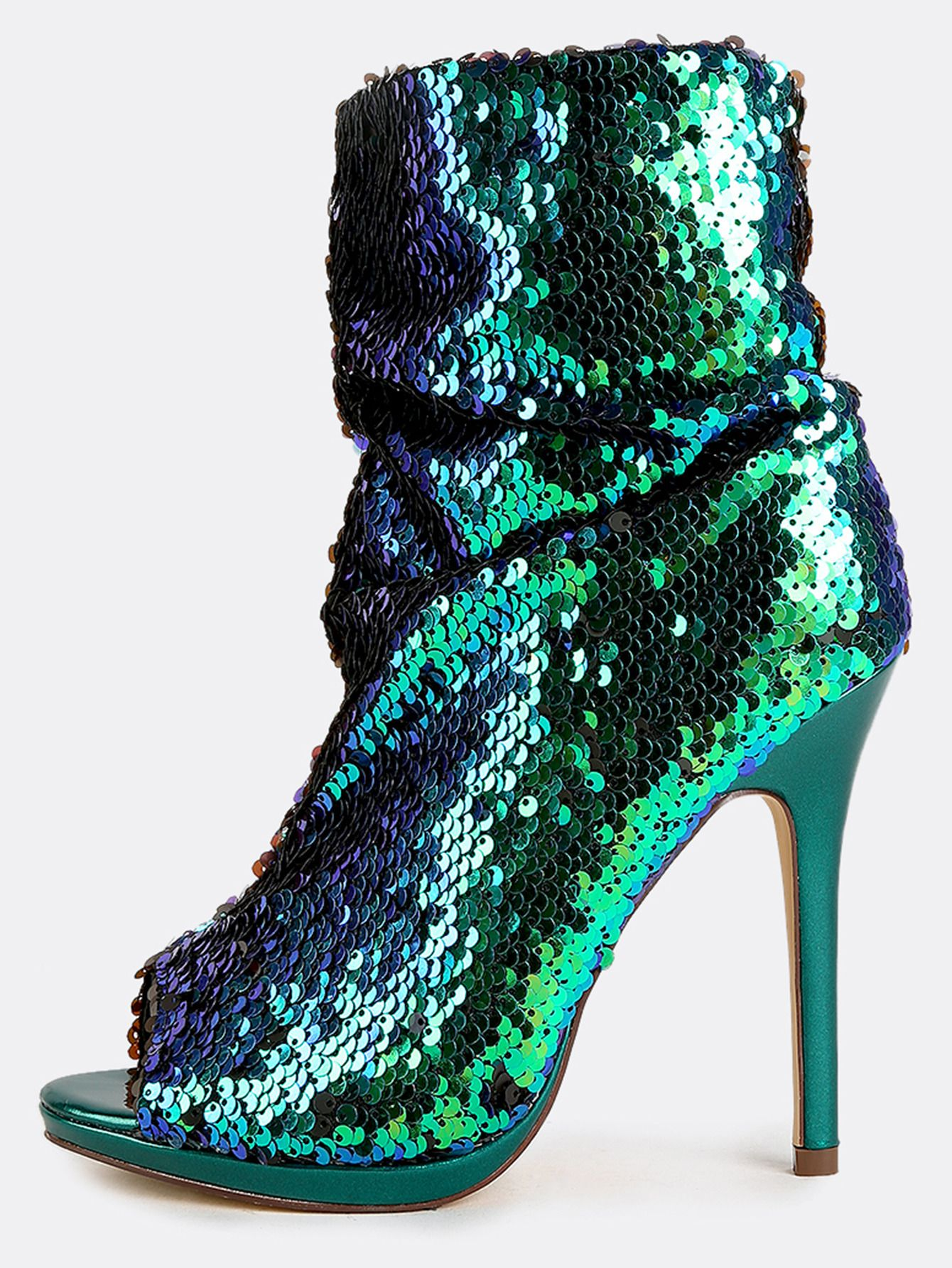 c0a9357bfef Mermaid+Sequin+Stiletto+Boots+GREEN+HOLOGRAM+47.90
