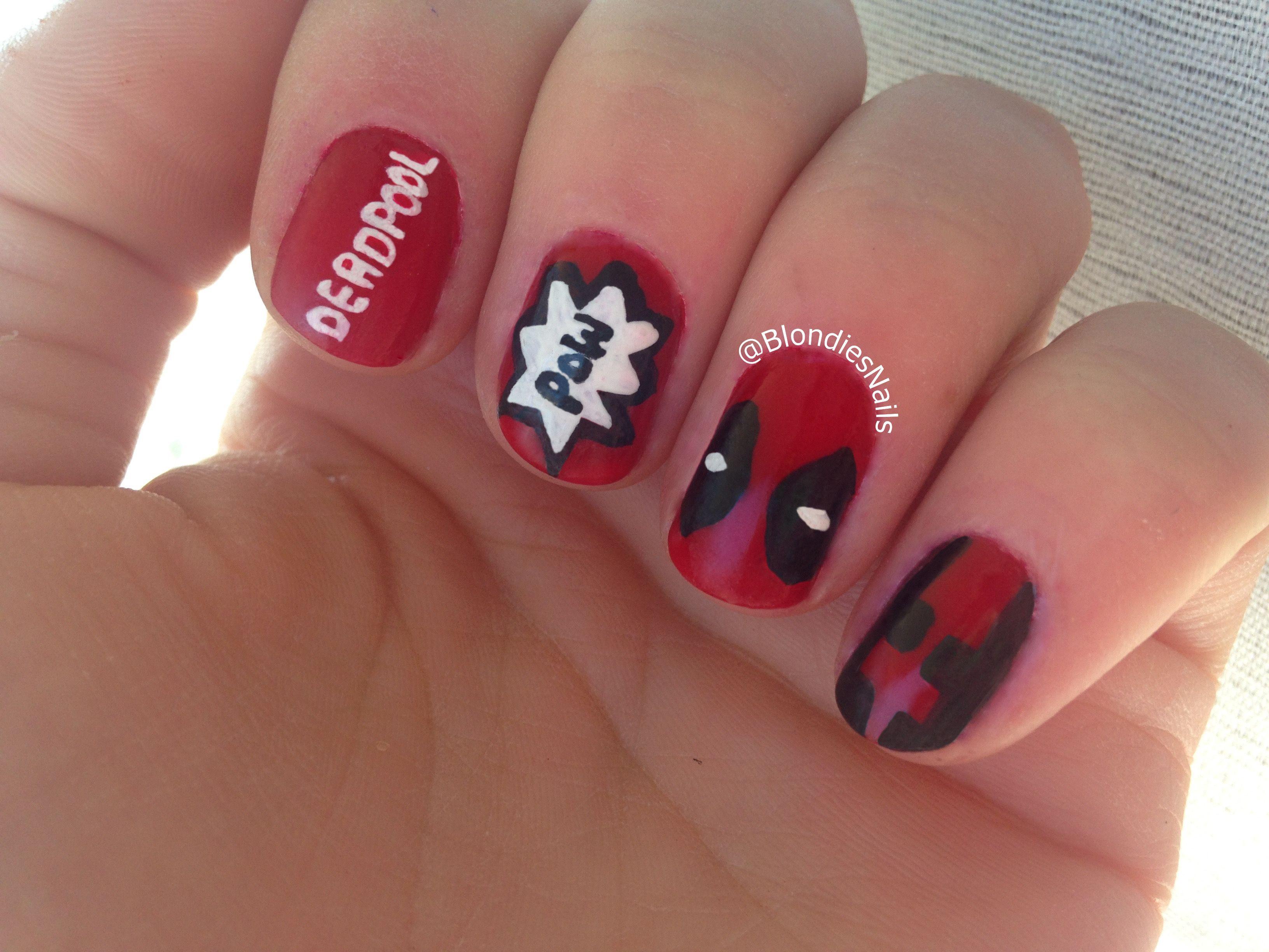 Deapool Nails Deadpool Xmen Marvel Comics Superhero Nails