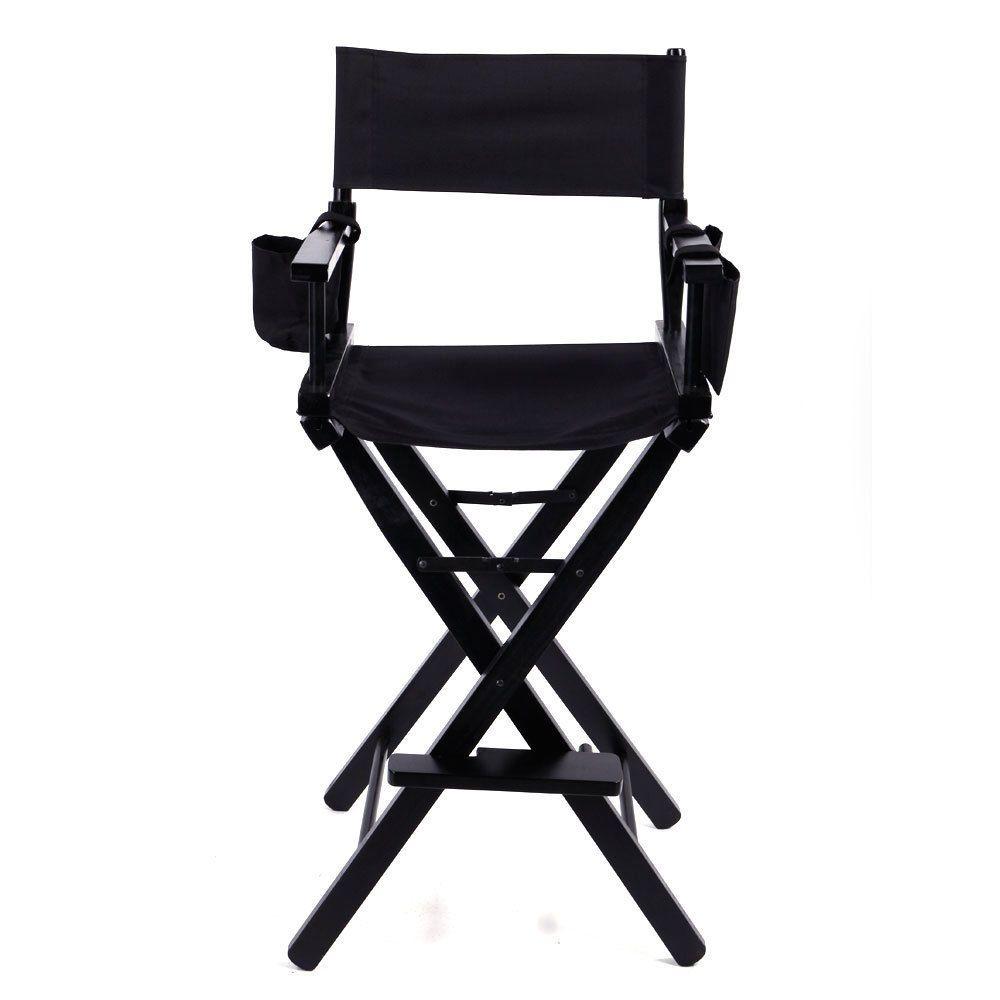 Directors Chair Canvas Tall Seat Black Wood Folding Hair Stylist W Storage Bag Directors Chair Black Wood Chair