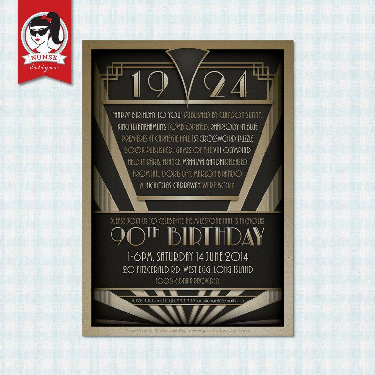 90th Birthday Party Invitations 20s Gatsby Mens by
