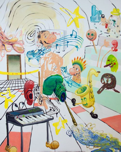 Aidan Pontarini  Microwave Head Mop Leg Racer, 2013. Oil on canvas. 48 in x 60 inches.