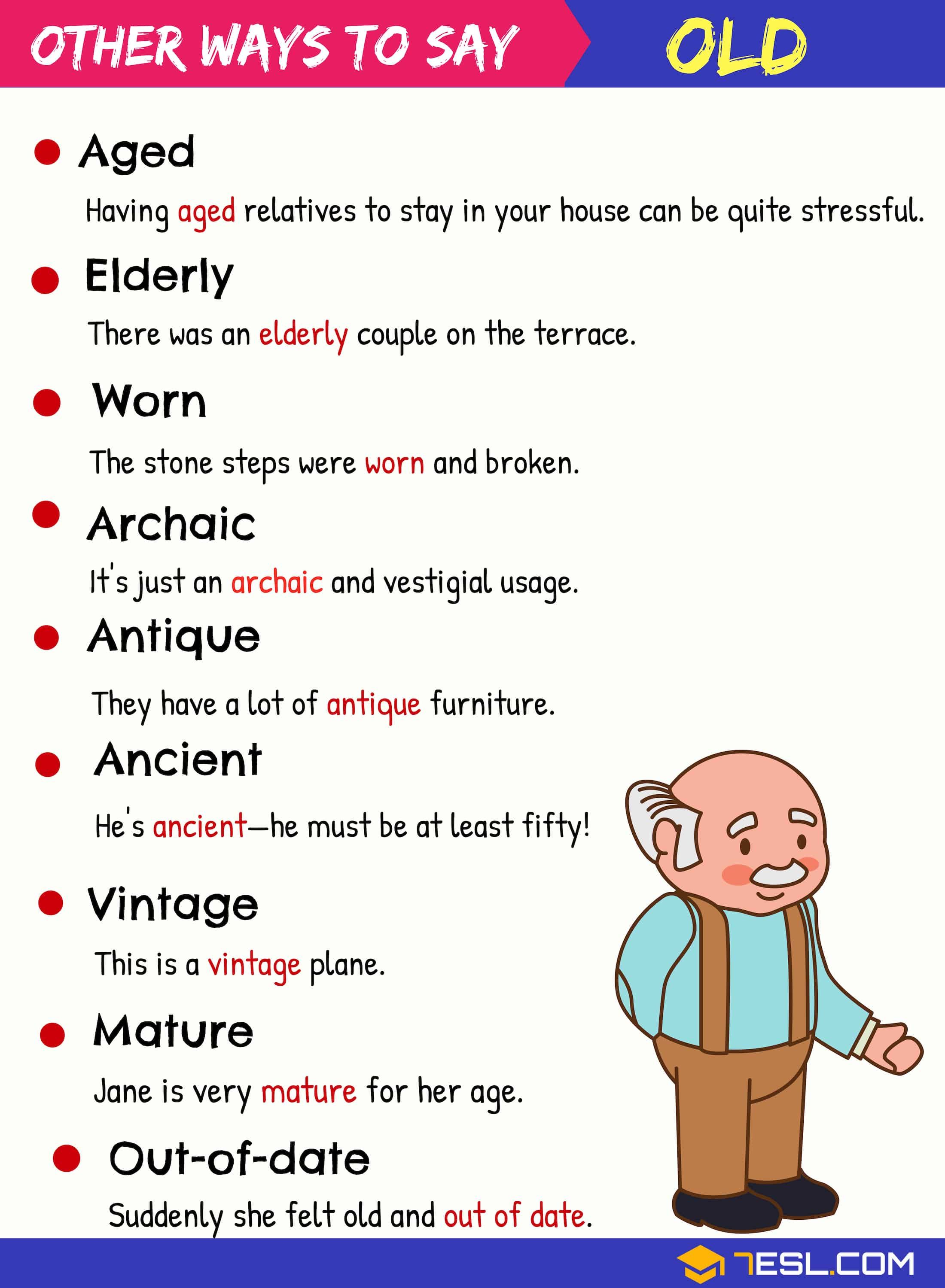 Synonyms For Old List Of 95 Old Synonyms In English 7 E S L Learn English Words Learn English Vocabulary English Writing Skills