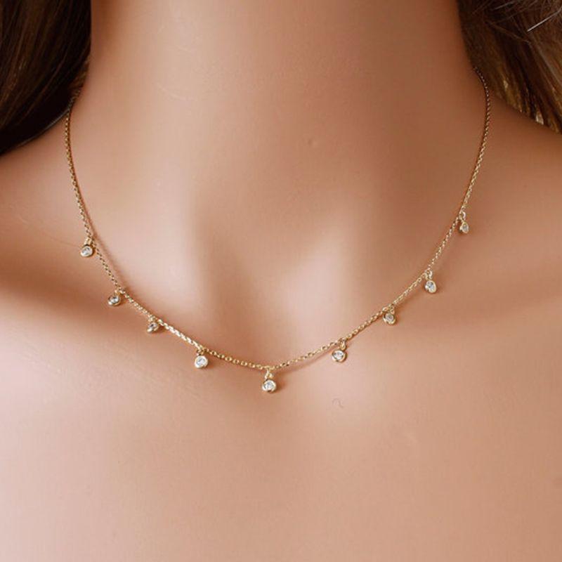 Frontière de cuivre CZ collier Délicat pendentif collier accessoires Pour Femmes En Gros XL191