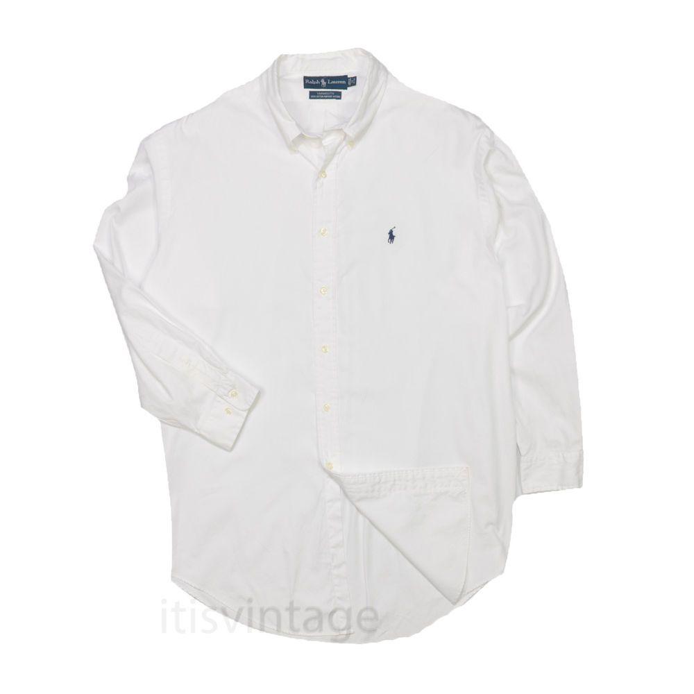 White Polo Ralph Lauren Dress Shirt Yarmouth Cotton Pinpoint Oxford