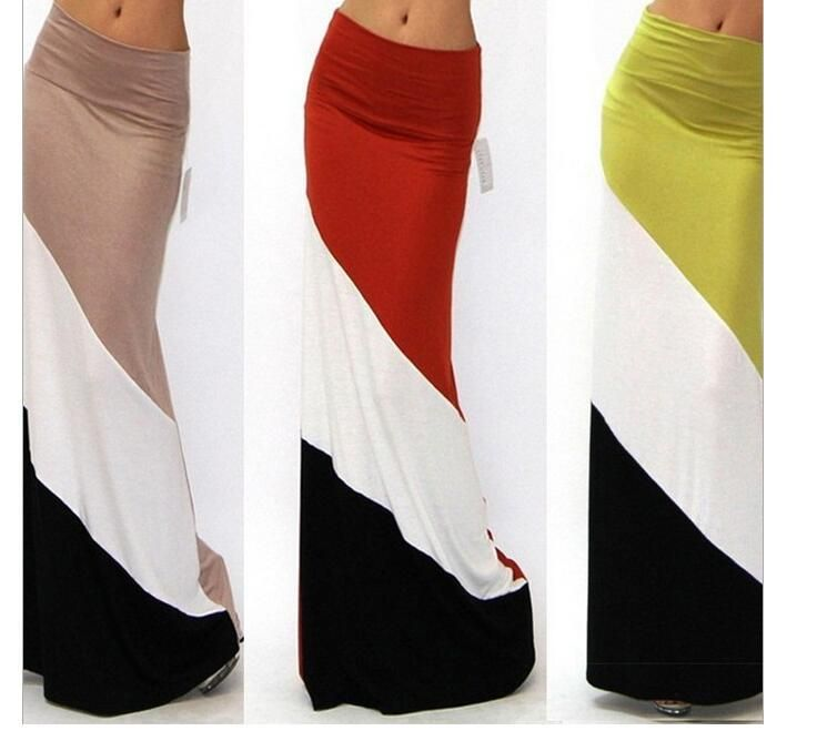 Photo of New National Fashion Stitching Long Skirt Slim Hip Fishtail