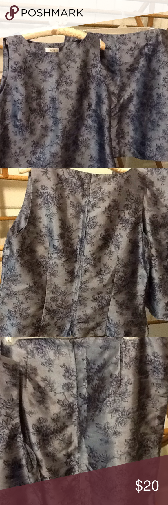 "Ladies 2 Pc. Skirt Set Blue Floral 2 Diff Sizes Looks and feels like silk. Top is size 14, bottom size 16. Polyester and rayon. Zipper in back of top and back of skirt. Skirt 33"" waist, 40"" hips 20"" long. Top size 14. 40"" bust, 38"" waist, 42"" hips, 21"" long. In great condition. AGB Byer California Skirts Skirt Sets"