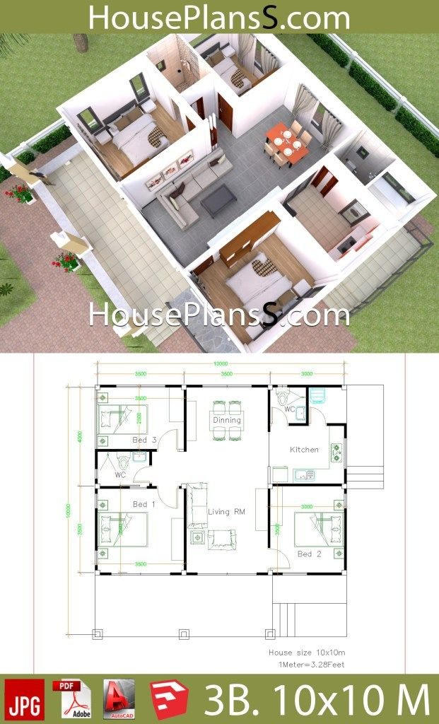 10x10 Room Design: House Design Plans 10x10 With 3 Bedrooms Full Interior