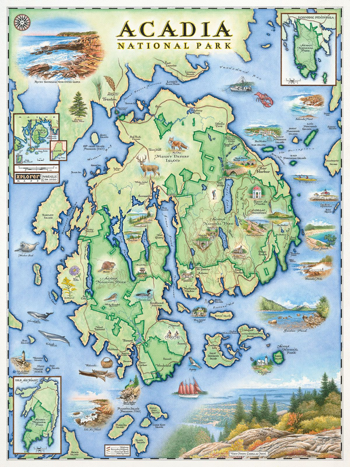 Acadia National Park Map In 2020