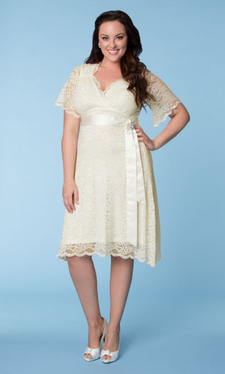 Bell Sleeve Short Lace Plus Size Dress Wedding