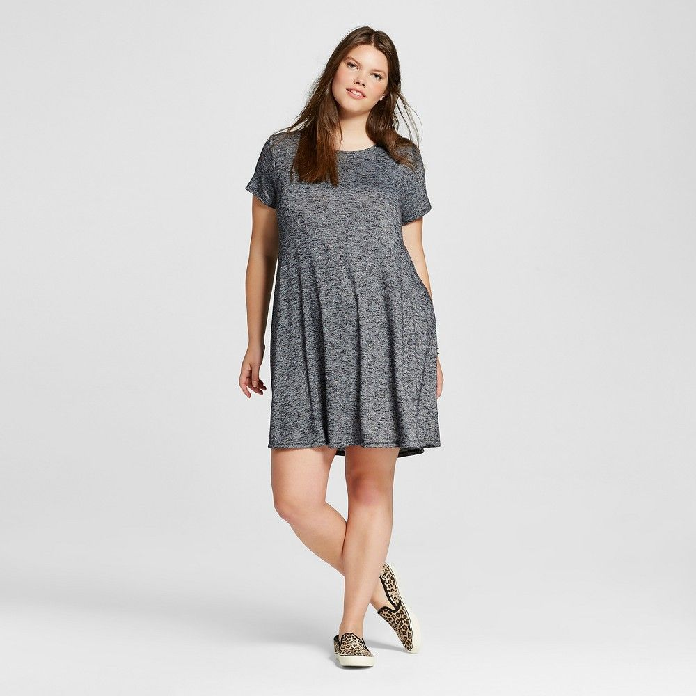 f891461313a Women s Plus Size T-Shirt Dress Charcoal 4X - Mossimo Supply Co.  (Juniors )