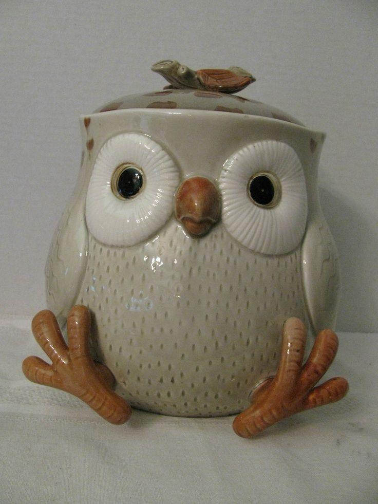 Fitz And Floyd Owl Cookie Jar Collectible Vintage Big Eyes Cute Feet Old  Nice