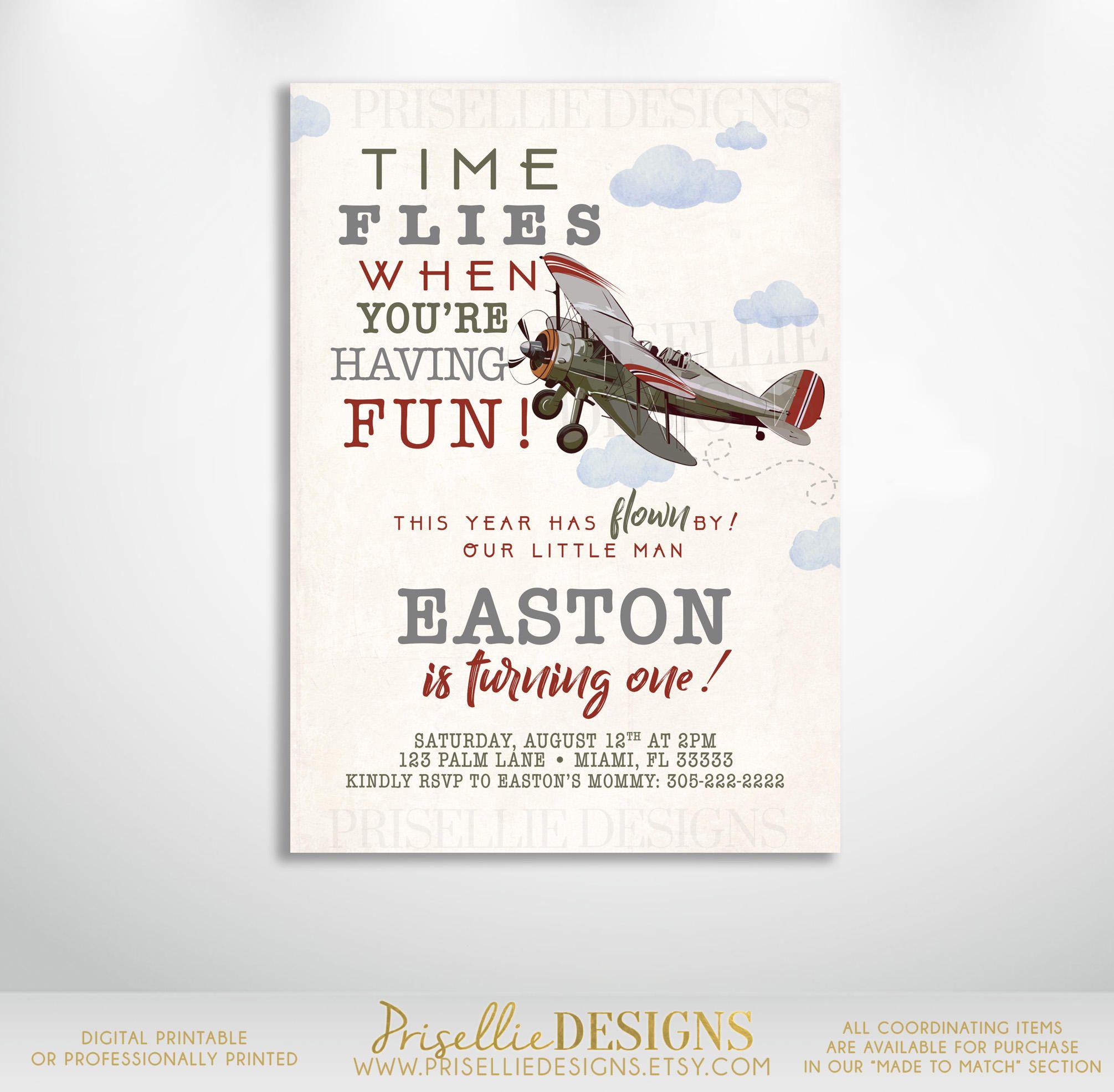 Airplane Birthday Invitation, Plane Birthday Invitation, Vintage ...
