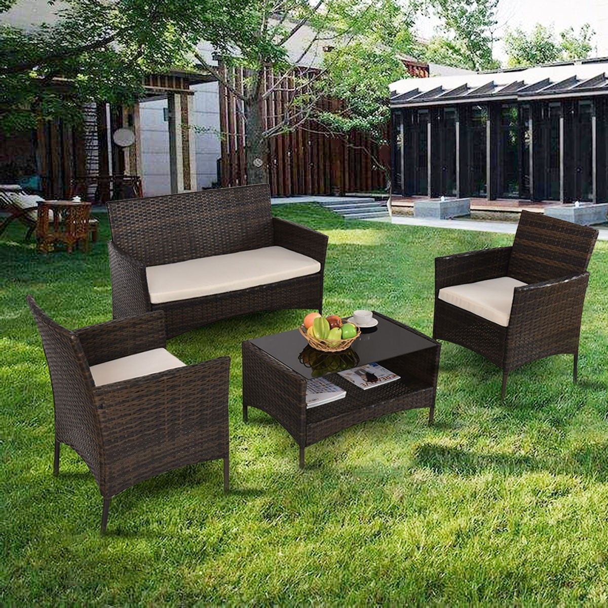 4 Pcs Outdoor Patio Rattan Table W Shelf And Sofa Set In 2020