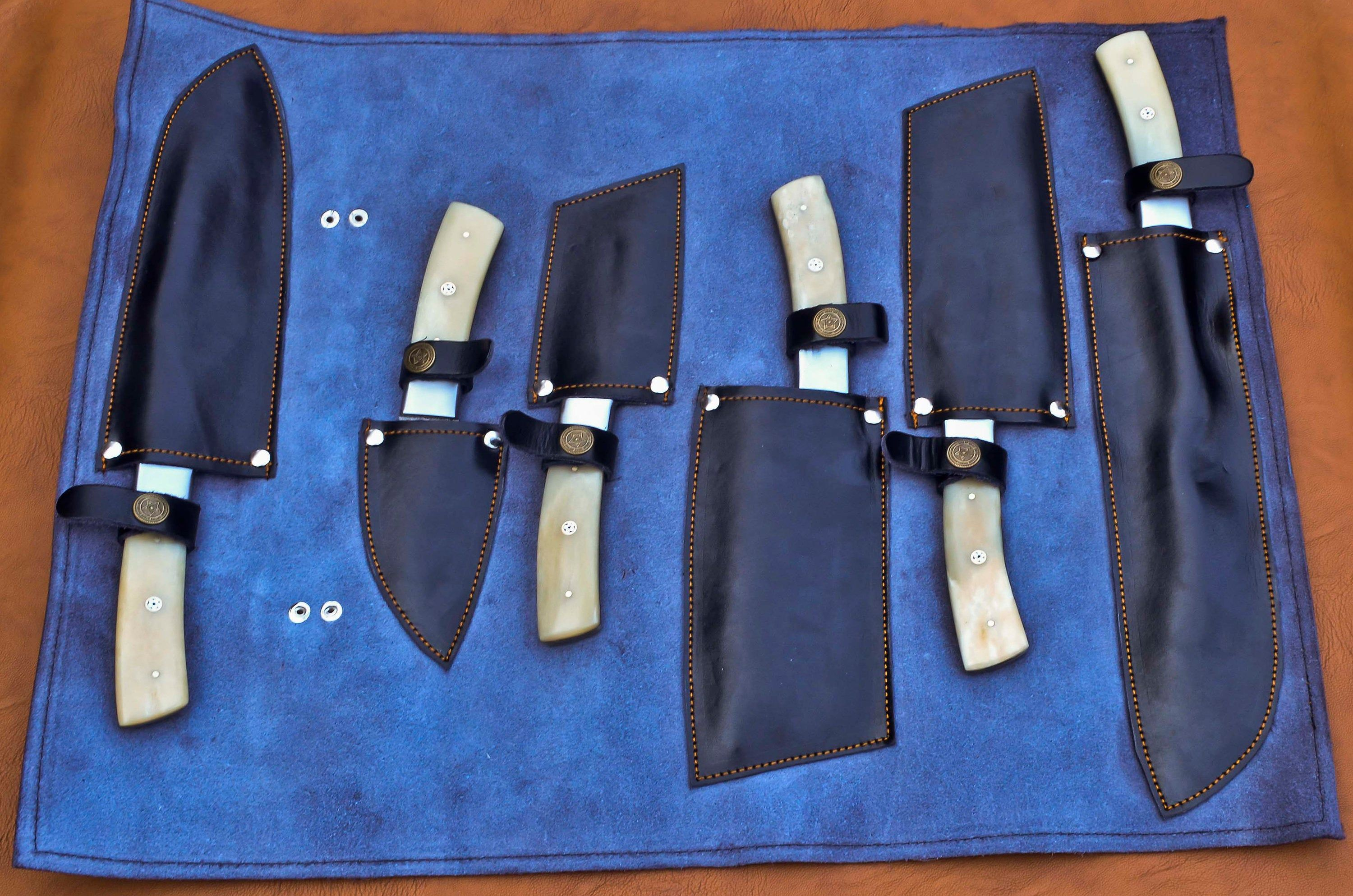 Custom hand made damascus steel chef set knives with