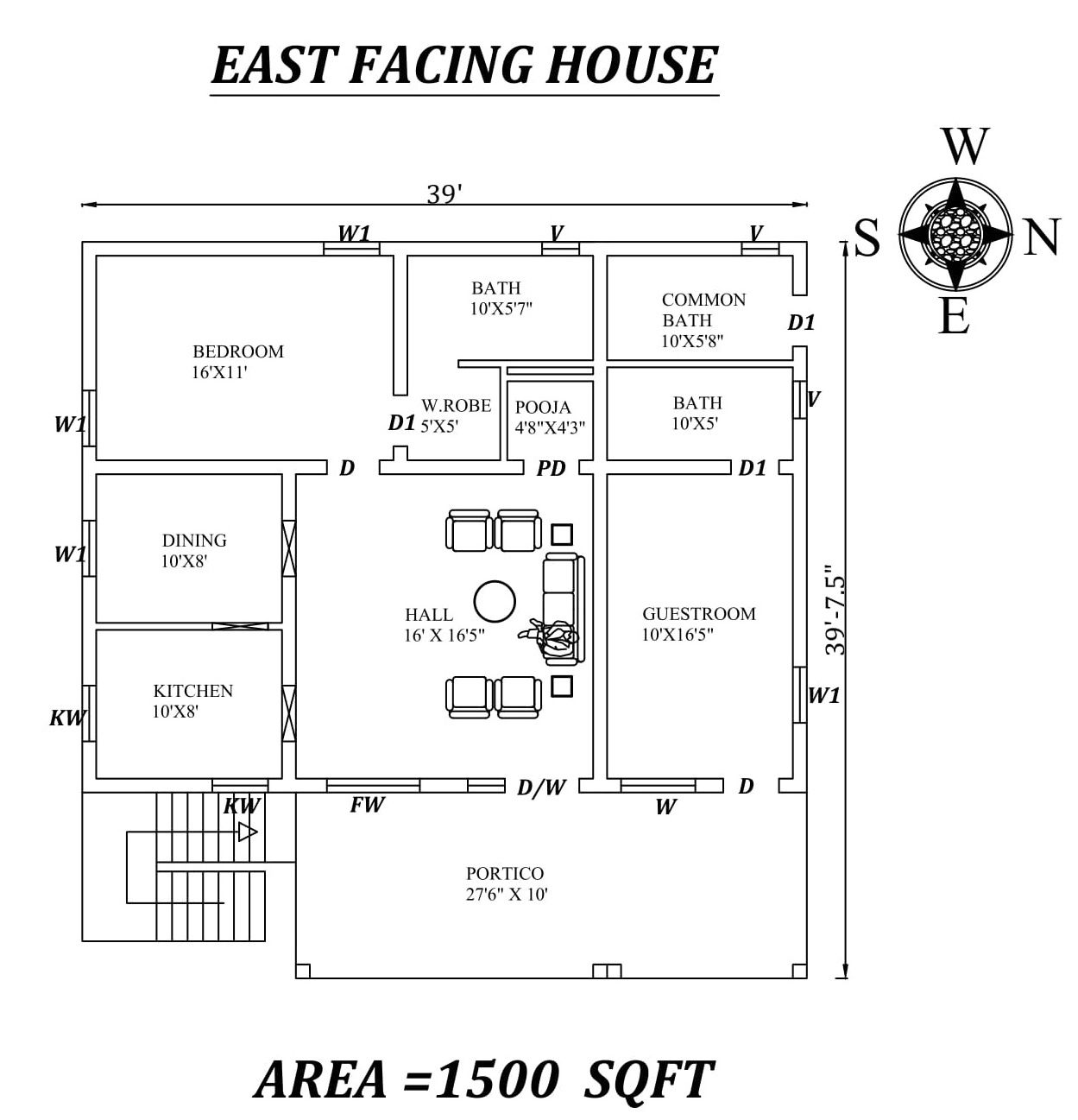 39 X39 Amazing 2bhk East Facing House Plan As Per Vastu Shastra Autocad Dwg File Details House Layout Plans Indian House Plans 40x60 House Plans