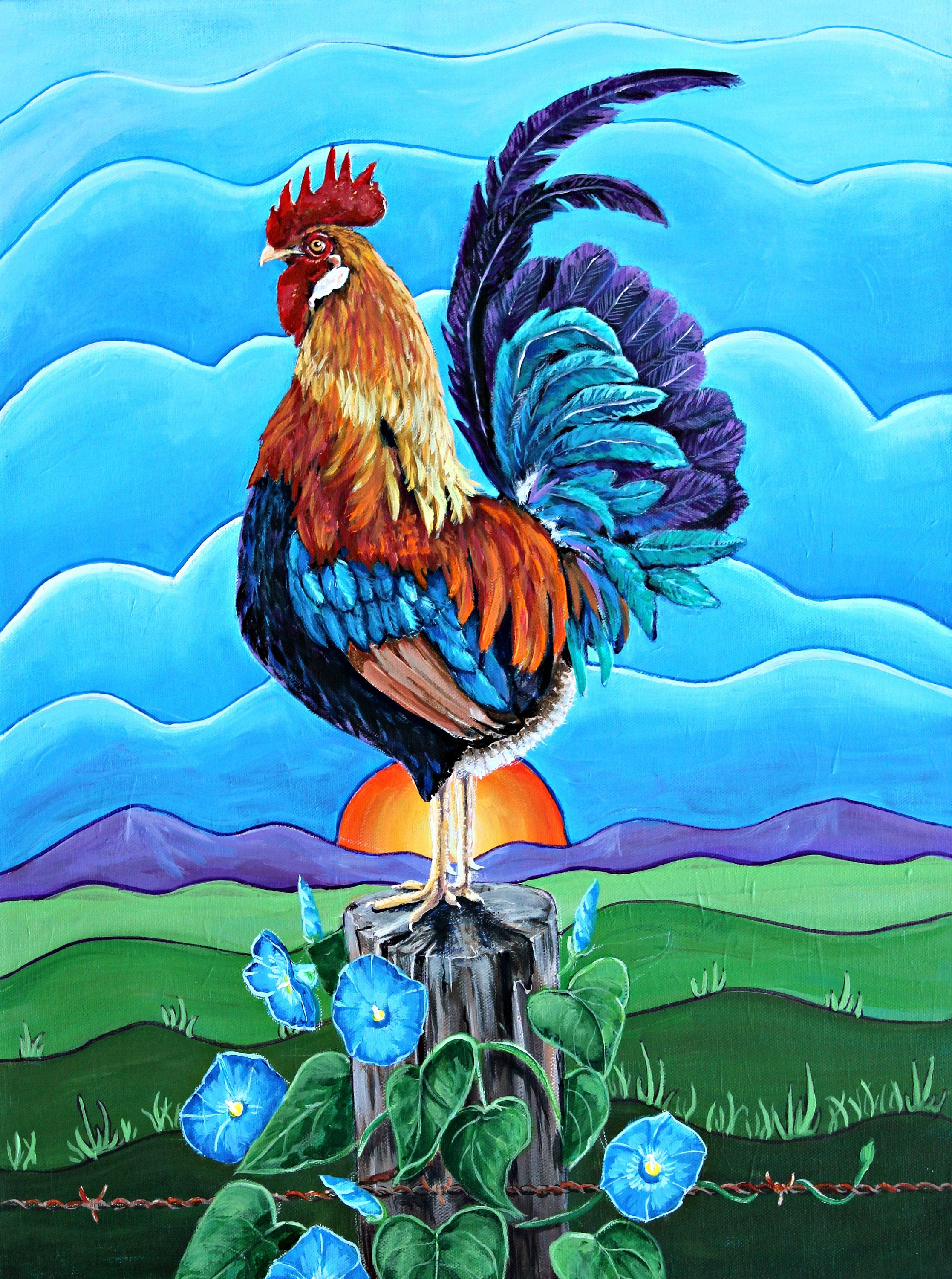 Rooster Print-Farm Animal Glossy Print- Bright Colorful Country Art ...