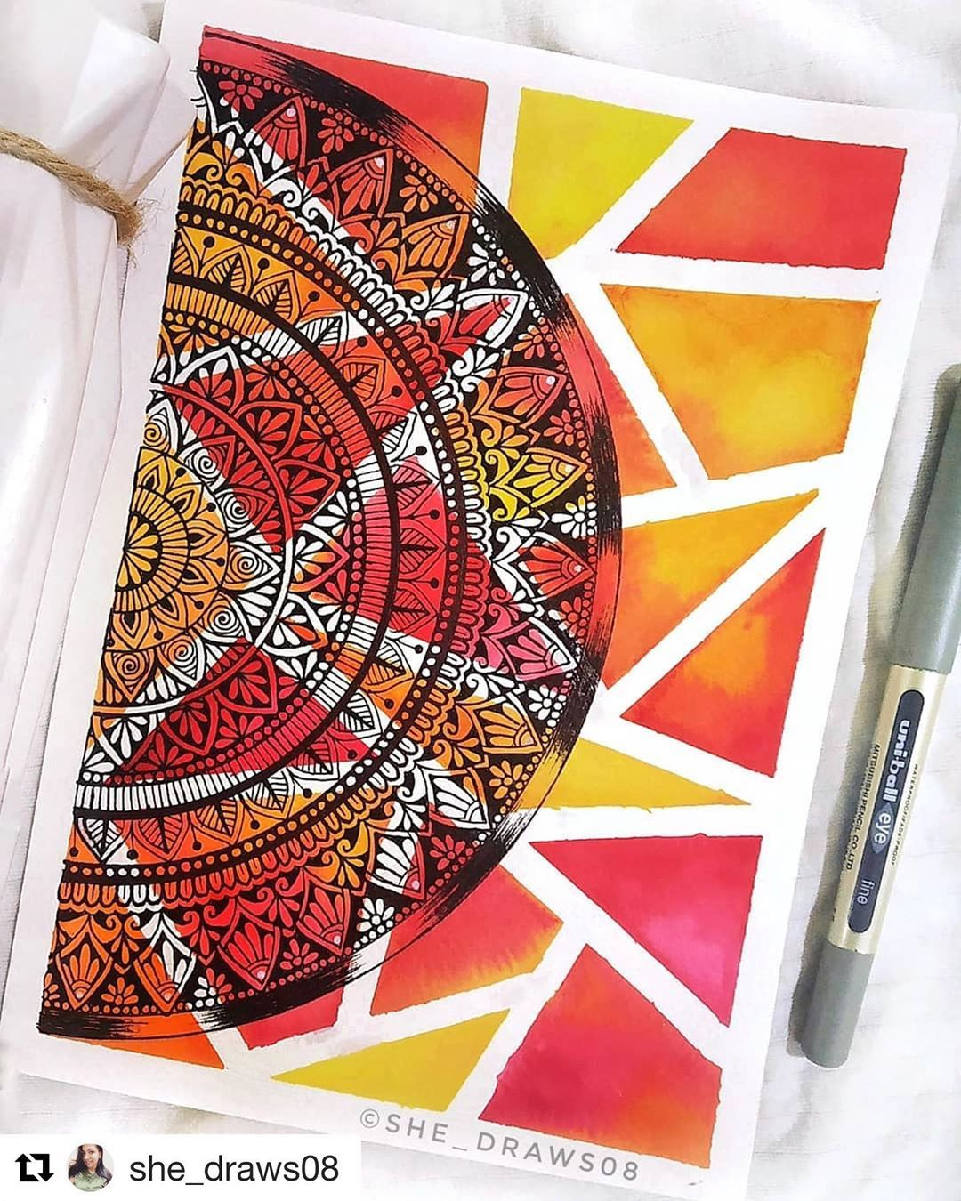"""Mandalas & Zentangles on Instagram: """"Am craving a mandala journal right now 🤩❤️ . . TAG your artwork with #zenartfeatures . . THIS artwork is done by  @she_draws08 ・・・ """"Keep…"""""""