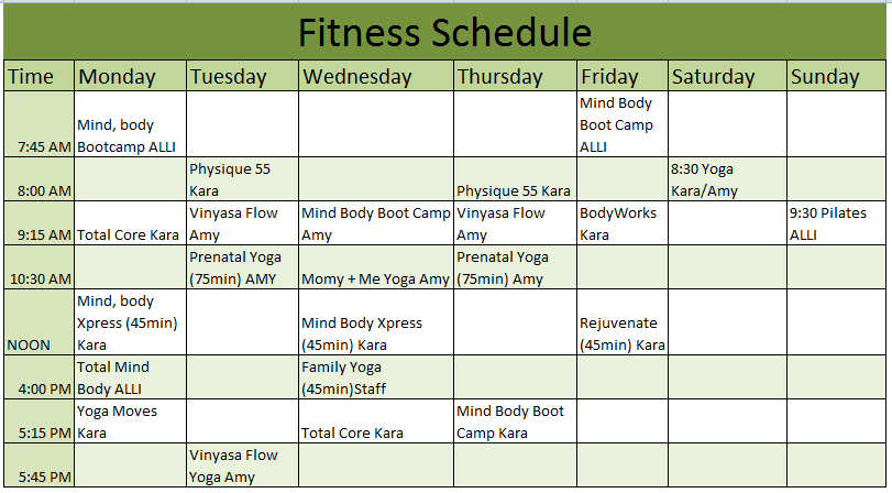 Fitness Schedule Template If You Want Your Life To Go Smooth And