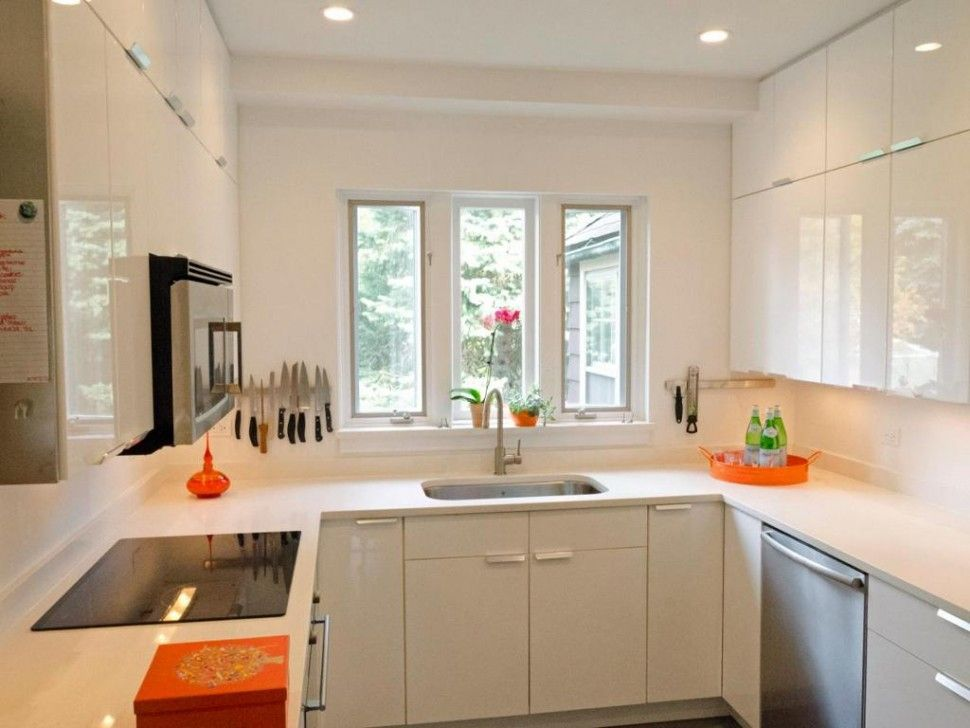Kitchen Opulent Small U Shaped Kitchen Design With White Paint Color