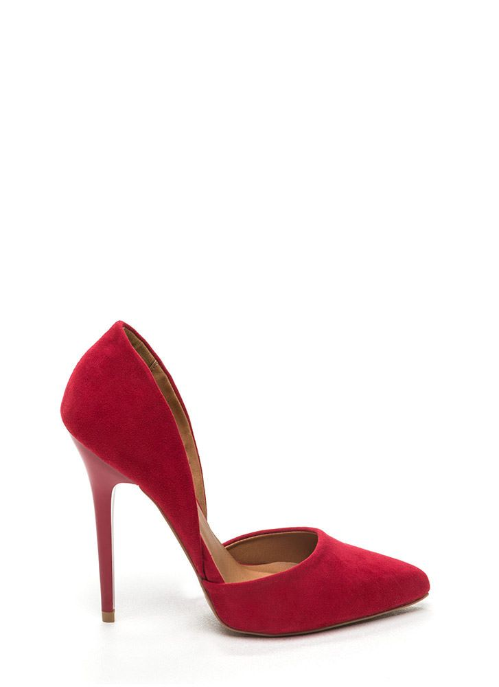 097e6695003 Calling Cut Pointy Faux Suede Heels