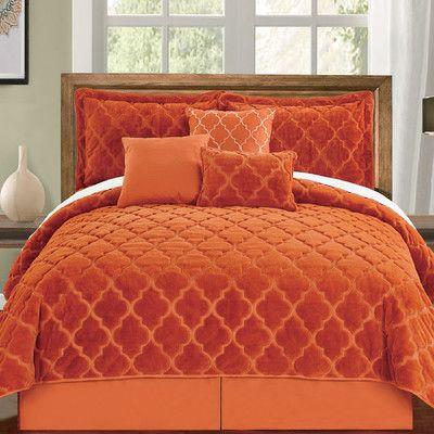Serenta Ogee 6 Piece Comforter Set Color Burnt Orange Size King Luxury Bedding Master Bedroom Comforter Sets Quilt Sets