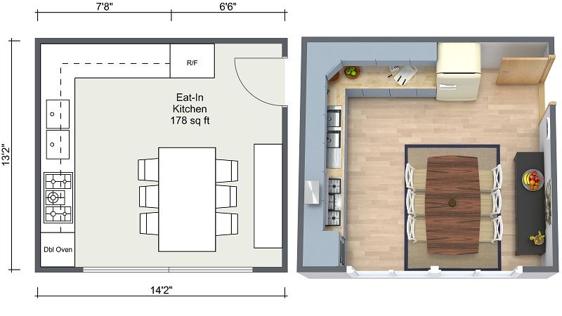 Roomsketcher Kitchen Ideas Eat In Kitchen Layout 2D 3D Floor Plans