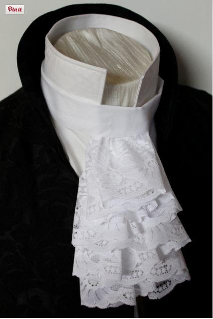 48e07e3eb31daa Regency Victorian Historic White Lace A Jabot | Stuhy a stužky v ...